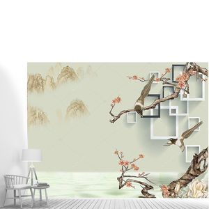 Цветущее дерево,  белые и темно-серые прямоугольные рамки