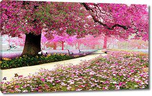 Розовая аллея в парке