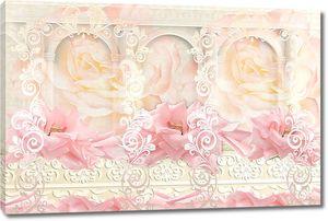 Абстракция с розовыми цветами и узорами