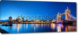 Тауэрский мост в Лондоне, Великобритания в ночное время