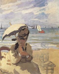 Моне Клод. Камилла сидит на пляже в Трувиль, 1870