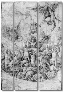 Брейгель. Рисунок. Приписывается Питеру Брейгелю Ст. Демоны, мучающие грешников в аду