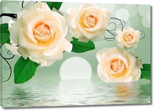 Розы кремовые над водой