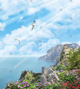 Замок и стена на скалах