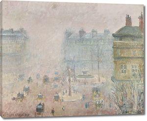 Камиль Писсарро. Площадь Французского театра,  туманная погода