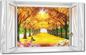 Осенняя аллея из окна