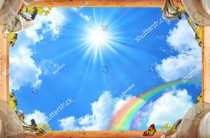 Небо с бабочками и радугой