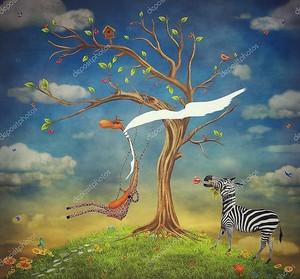 На рисунке показаны романтические отношения между Жираф и Зебра
