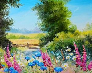 Картина маслом - поле с цветами и абстрактный рисунок лес
