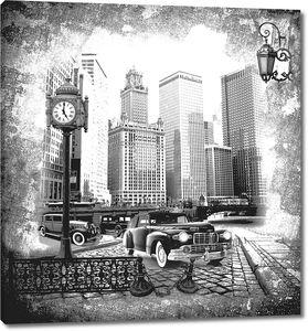 Черно-белая фотография улицы