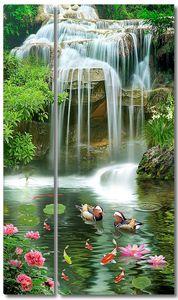 Утки-мандаринки у водопада
