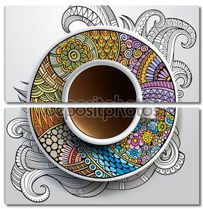 чашка кофе и ручной обращается орнамент на блюдце