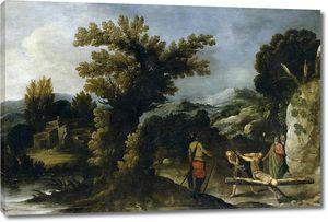 Кольянтес Франсиско. Пейзаж с распятием святого Петра
