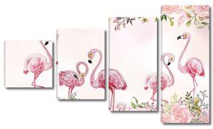 Фламинго в розах