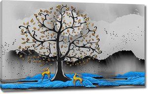Олени под кудрявым деревом