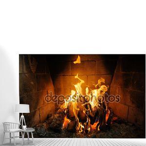 Пожар в камин и пламя танец