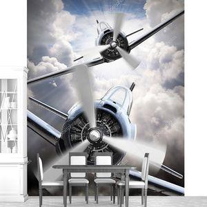 бой на небе. Ретро самолеты коллаж. Тема войны воздуха.