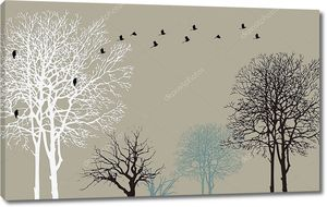 Контуры деревьев с птицами
