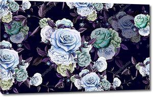 Темно-фиолетовый фон, большие синие и зеленые розы