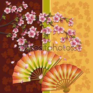 Фон с двумя вентиляторами и Сакура - сакуры