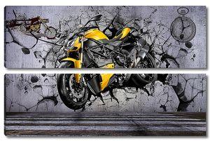 Желтый мотоцикл пробивает стену