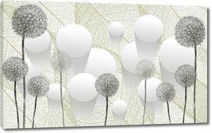 Монохромная абстракция из цветов и кругов