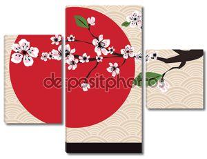 традиционные японские фон с сакуры, вектор