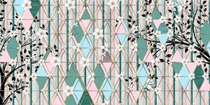 Triangle eden-Цветущие ветки на бирюзовых ромбах