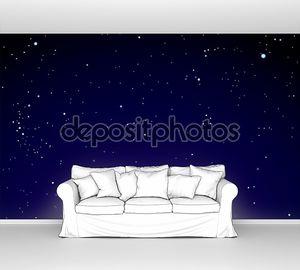 Ночное небо с облаками и звезды