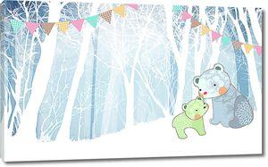 Мишки в праздничном лесу