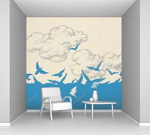 Синий птиц, летающих над неба векторная иллюстрация