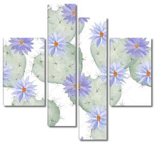 Акварельный фон из цветущих кактусов