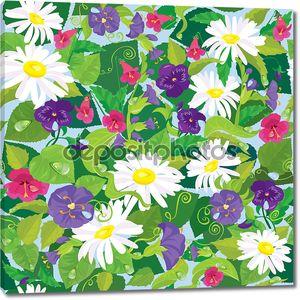 Бесшовный фон с красивые цветы - ромашки, анютины глазки, быть