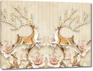 Белые и розовые цветы с двумя оленями