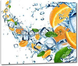 Апельсины в плеск воды