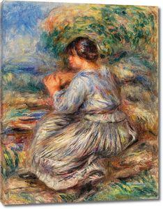 Ренуар. Девушка, сидящая в пейзаже (Же Филе Ассиз -Данс Джардин)