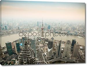 Панорамный вид на Шанхай в сумерках