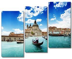 Гранд-канал и Базилика Санта-Мария делла Салюте, Венеция, Италия и Солнечный день