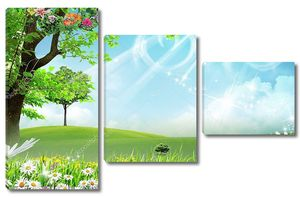 Голубое небо, ромашки, цветущее дерево