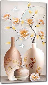 Три вазочки с цветущей веточкой