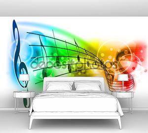 Разноцветный нотный стан