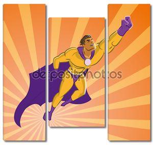 супергерой, взлетающий
