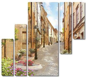 Красочная фреска улицы с цветами
