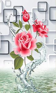 Роза в брызгах воды