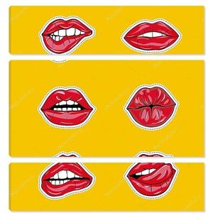 Набор сексуальные женские губы в красный блестящий помады, соблазнительной, целующий, кусает, с языком, леденец, вишня, Роза, конфеты. Гламурная рты, изолированные на желтом фоне. Поп-арт стиль женский сексуальный рот. Векторные иллюстрации в стиле арт бу