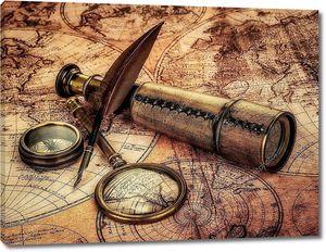 Старинные предметы на старой карте