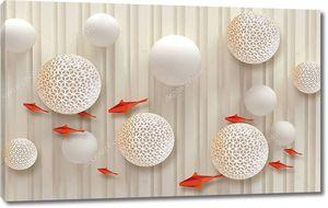 3d иллюстрация, бежевый фон, вертикальные полосы, гладкие и перфорированные шары, оранжевая полигональная рыба
