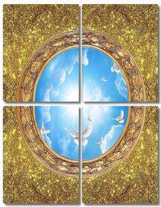 Золотой фон, овальное окно с небом