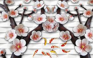 Сакура с китайскими рыбками