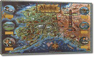 Винтажная Карта Аляски